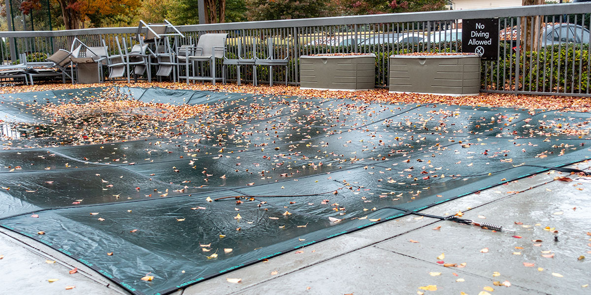 Covered Concrete Pool Deck Wet from Winter Rains